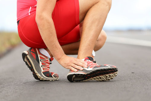 Runner with ankle sprain