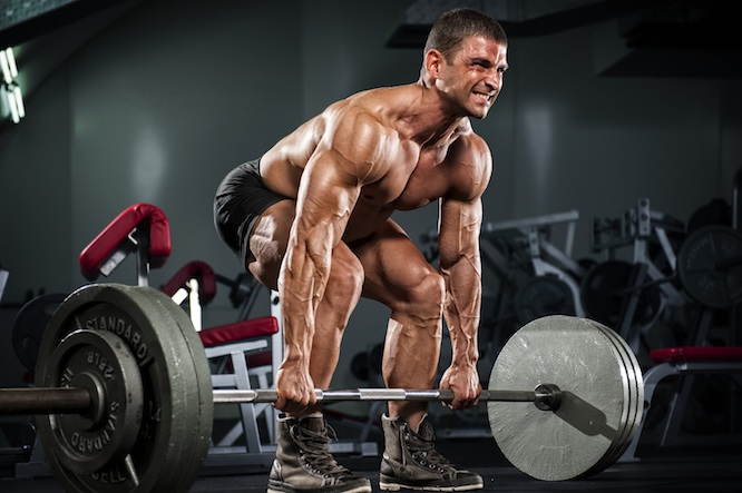 Man deadlifting