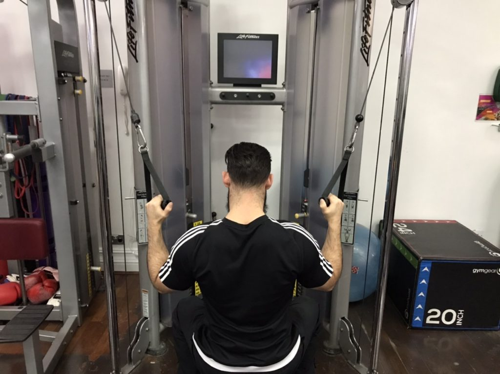 Pulldown for shoulder injury rehab