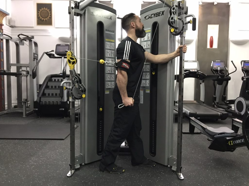 Long head of triceps exercise