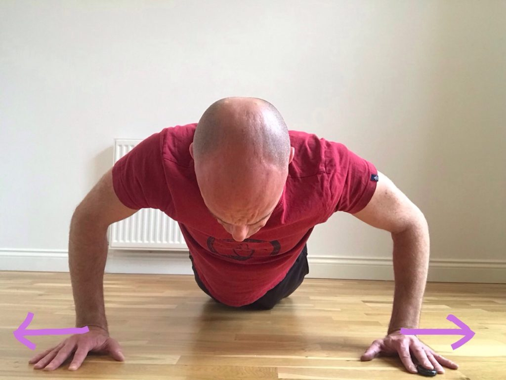 Push up to increase posterior shoulder activation